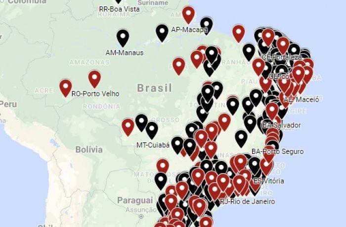 Mapa da greve geral