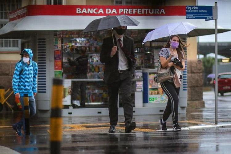 RS de máscara e chuva