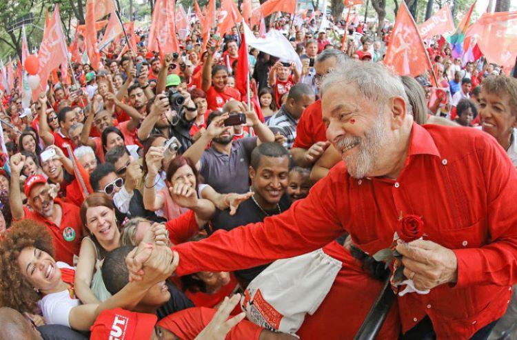 Lula com rosa
